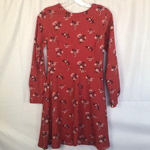 LOFT Maroon Size OO Petite Midi Dress Floral print